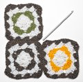 Knitted color pattern and crochet Stock Image