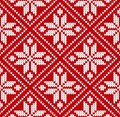 Seamless winter sweater norway red white pattern vector illustration
