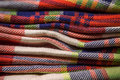 Knitted colorful cotton fabric a stack of Stock Photo