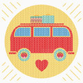 Knitted colorful vintage hippie van