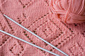 Knitted element skein of yarn and knitting needles pink Royalty Free Stock Photo