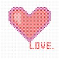 Knitted, embroidered heart. Heart Valentine`s day card. Vector.