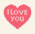 Knitted heart vector illustration valentine s day Royalty Free Stock Photo