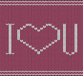 Knitted i love you pattern background with Royalty Free Stock Images