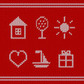 Knitted icons editable vector set Stock Images