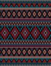 Knitted Indian rug paisley ornament seamless pattern. Ethnic Mandala print