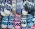 Knitted mittens with pattern winter Royalty Free Stock Images