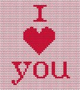 Knitted pattern. Red heart and text `I Love You` on a white background