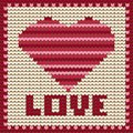 Knitted pattern with red heart vector illustration text love Royalty Free Stock Photos
