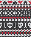 Knitted pattern with skulls Stock Photos