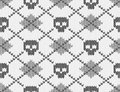 Knitted pattern with skulls Royalty Free Stock Photo