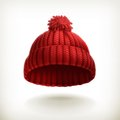 Knitted red cap illustration on white background Royalty Free Stock Photos