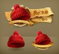 Knitted red caps icons