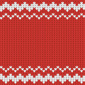 Knitted red Christmas pattern with geometric ornament