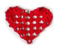 Knitted red heart made of yarn white isolated Royalty Free Stock Photos
