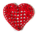Knitted red heart made of yarn white isolated Stock Photography