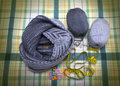 Knitted scarf from wool mixture gray two-tone