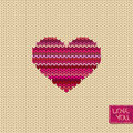 Knitted seamless pattern or card with heart melange and greeting tag Royalty Free Stock Photos
