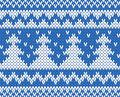 Knitted seamless pattern with fir trees blue eps Stock Photos