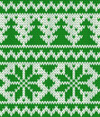 Knitted seamless pattern with fir trees and stars eps Royalty Free Stock Photos