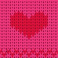 Knitted seamless pattern, red heart on a pink background