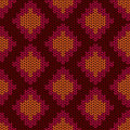 Knitted seamless pattern with rhombus ethnic Stock Images