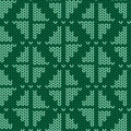 Knitted seamless pattern with rhombus green Royalty Free Stock Photo