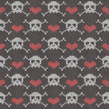Knitted seamless pattern with skulls crossbones and hearts Royalty Free Stock Photos