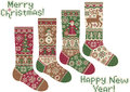 Knitted socks. Merry Christmas and New Year! Royalty Free Stock Photography