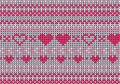 Knitted sweater winter pattern red and grey