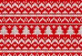 Knitted sweater winter pattern in red and tree