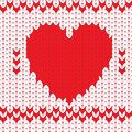 Knitted textile decorative valentine heart Stock Photos