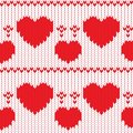 Knitted textile decorative valentine hearts Royalty Free Stock Photo