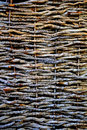 Knitted wood texture closeup of a fence made of sticks Royalty Free Stock Photo