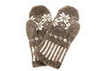 Knitted woolen mittens on a white background Royalty Free Stock Photos