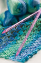 Knitting in blue and green tones Royalty Free Stock Photo