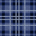 Knitting checkered seamless pattern in various blue hues Royalty Free Stock Photo
