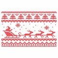 Knitting. Christmas vector background. Deers and snow