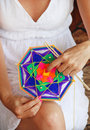 Knitting class mandalas shallow depth of field Royalty Free Stock Photo