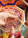 Knitting class mandalas shallow depth of field Royalty Free Stock Image