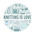 Knitting, crochet, hand made banner illustration. Vector line icon knitting needle, hook, scarf, socks, pattern, wool