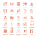 Knitting, crochet, hand made line icons set. Knitting needle, hook, scarf, socks, pattern, wool skeins and other DIY Royalty Free Stock Photo