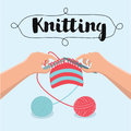 Knitting hands instructions - vector illustration