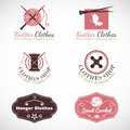 Knitting hanger and crochet vintage Clothes fashion shop  logo vector set design Royalty Free Stock Photo