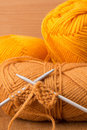 Knitting needles and skein of acrylic Stock Photography