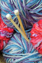 Knitting needles and yarn Stock Photos