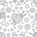Knitting, sewing seamless pattern. Cute vector flat line illustration of hand made equipment knit needle, bottons, wool