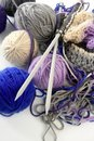 Knitting tools with wool thread balls Stock Images