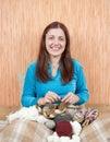 Knitting woman Stock Photo