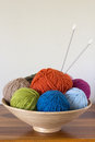 Knitting wool balls of yarn in basket with needles Stock Image